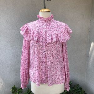 LoveShackFancy pinks floral cotton ruffle blouse S